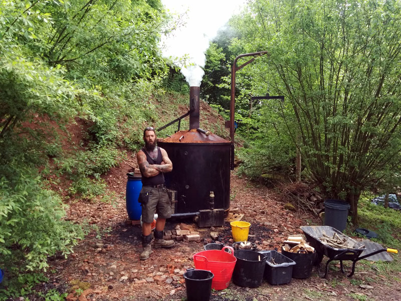 Our biochar kiln in action at Sacred Earth
